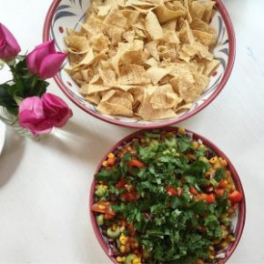 Mexican Dip with Black Beans, Salsa and Avocado