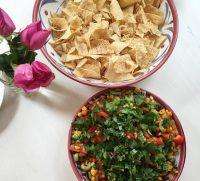 Mexican Bean, Salsa and Avocado Dip
